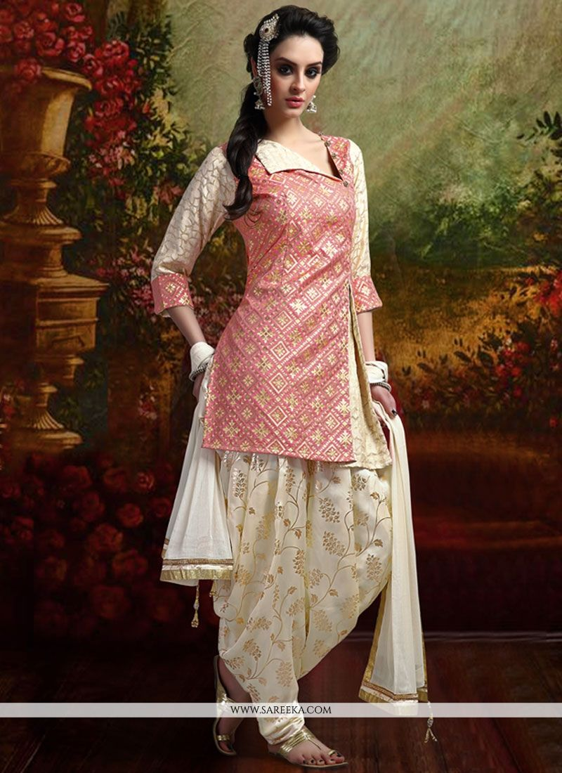 Buy Banarasi Silk Peach Readymade Suit Online : Fiji - Punjabi Suits