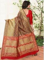 Banarasi Silk Red Traditional  Saree