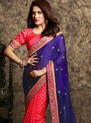 Satin Navy Blue and Red Embroidered Work Designer Half N Half Saree