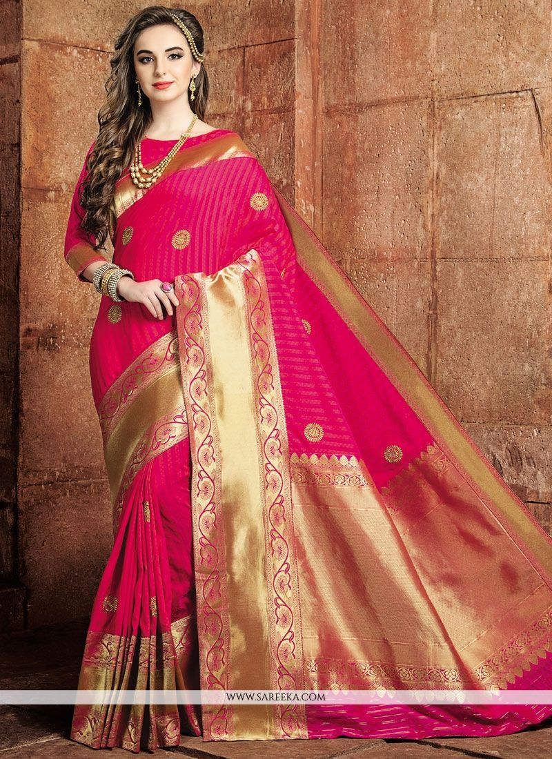29f0f364fc1e4 Buy Weaving Art Raw Silk Traditional Designer Saree in Hot Pink Online    Australia -