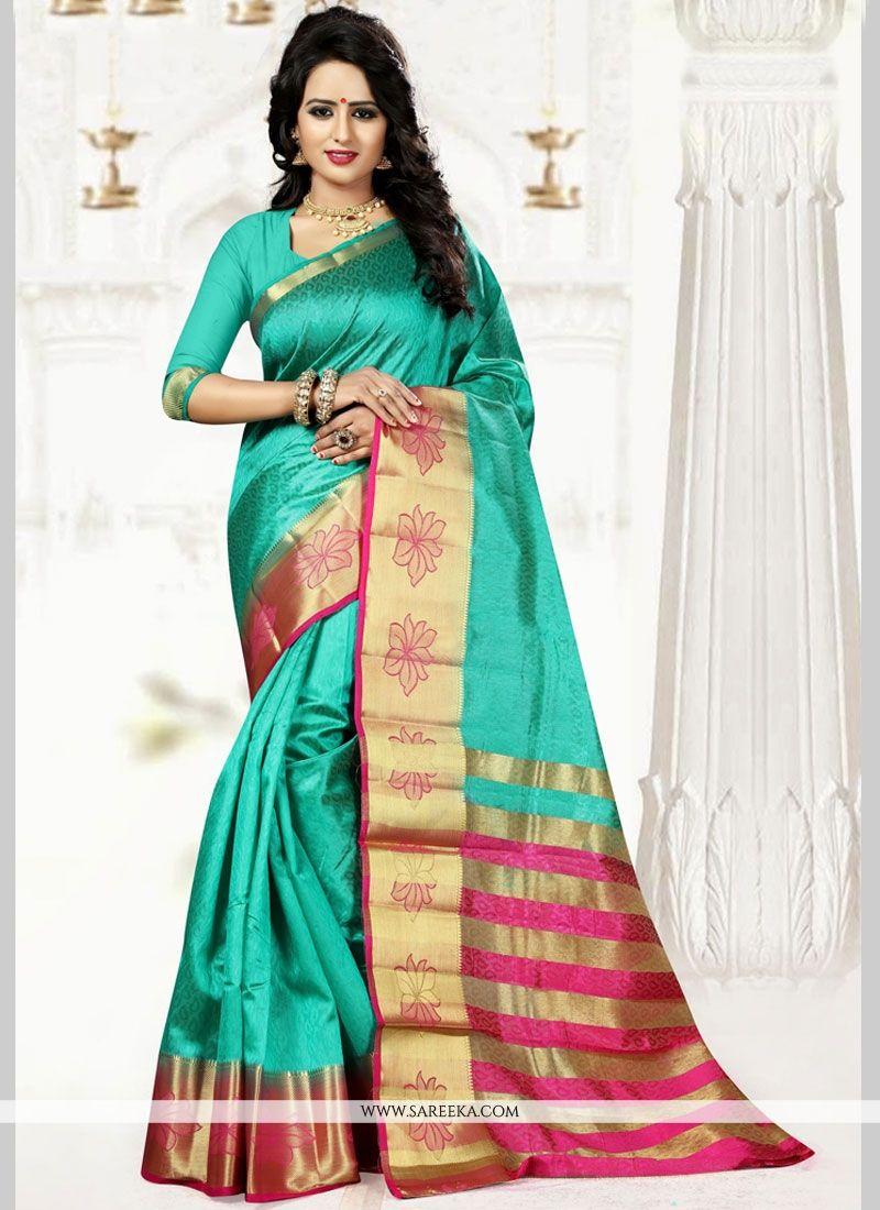 Weaving Art Silk Designer Traditional Saree in Sea Green