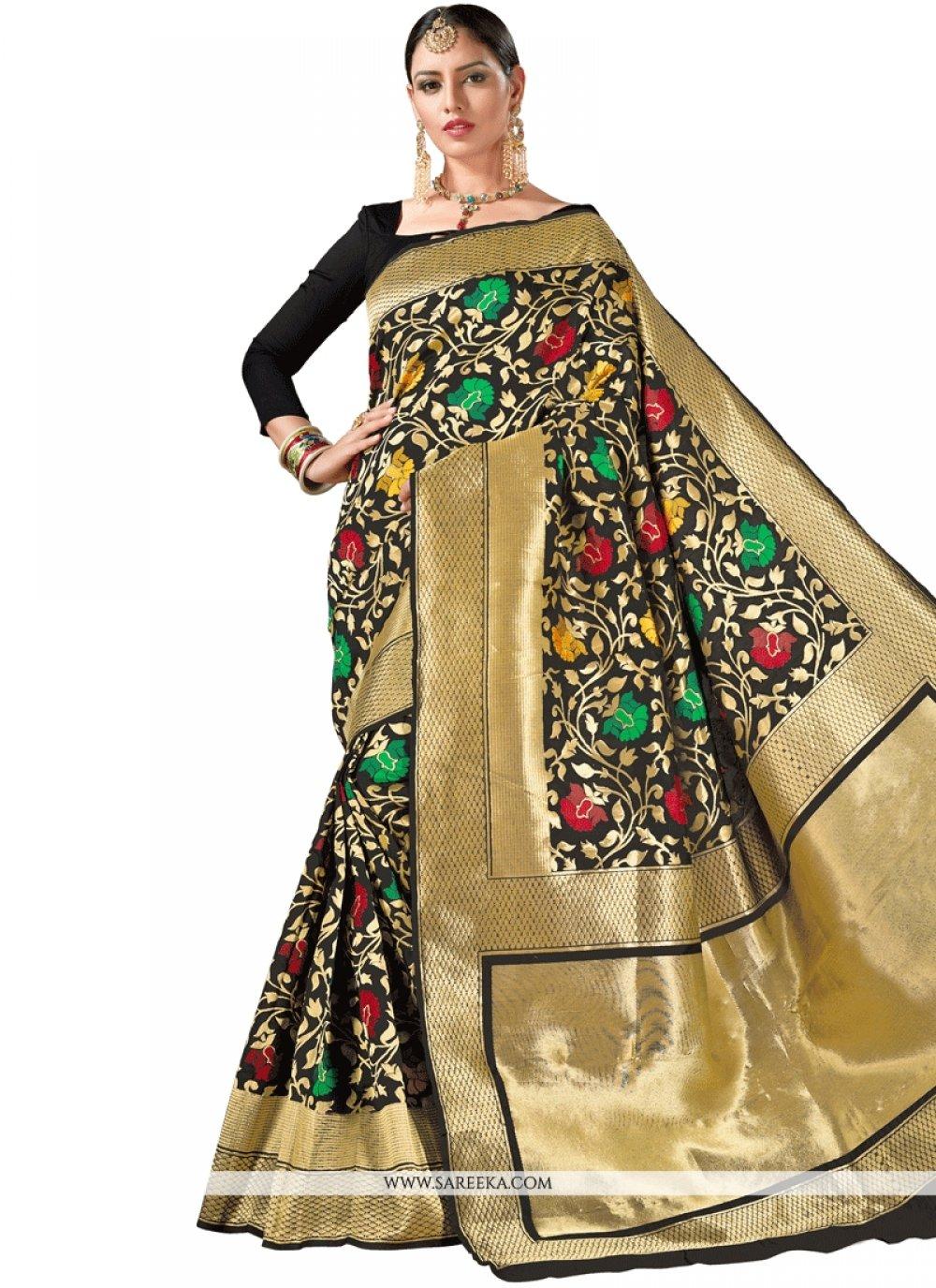 Weaving Art Silk Traditional  Saree in Black