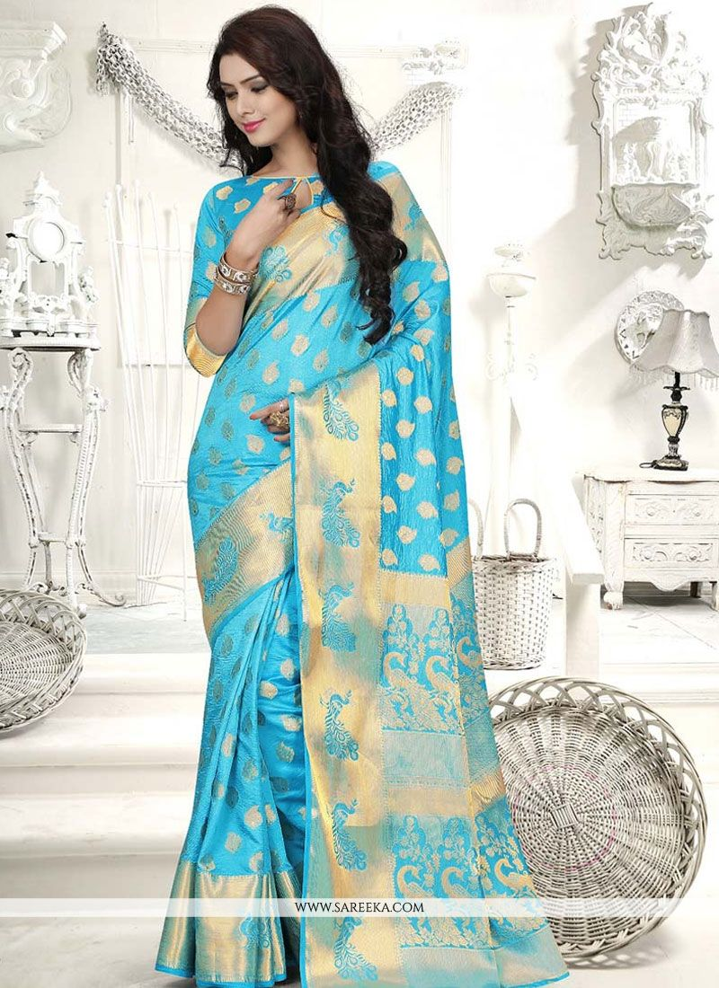 Weaving Banarasi Silk Traditional  Saree in Turquoise