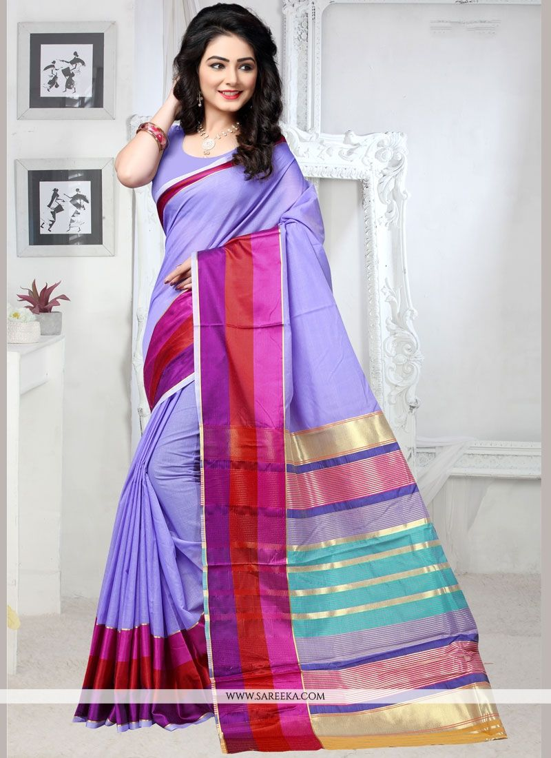 Weaving Cotton Silk Casual Saree in Blue