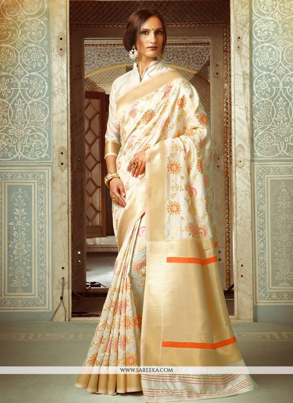 Weaving Handloom silk Designer Traditional Saree in Cream
