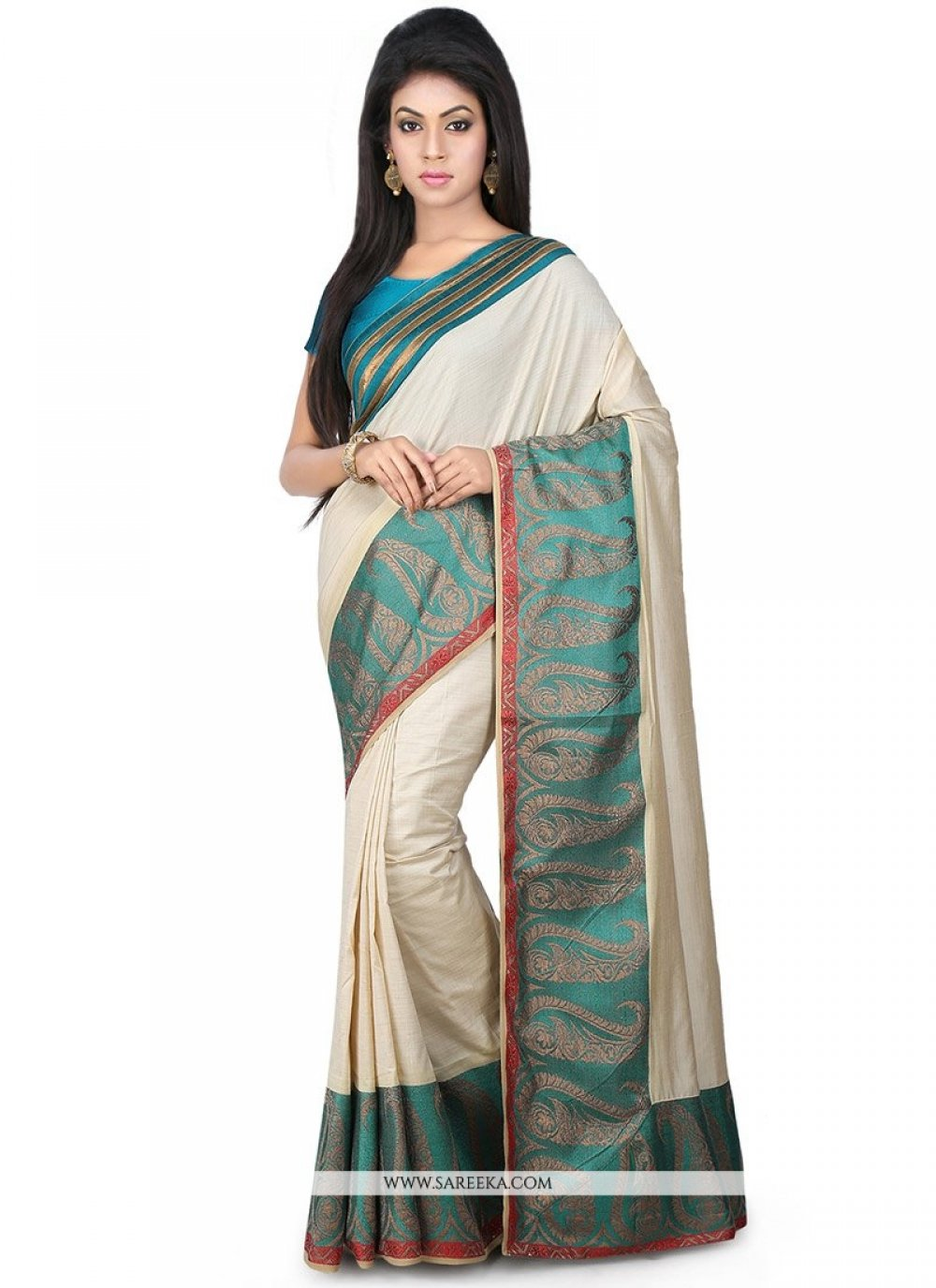 Weaving Work Beige Classic Designer Saree