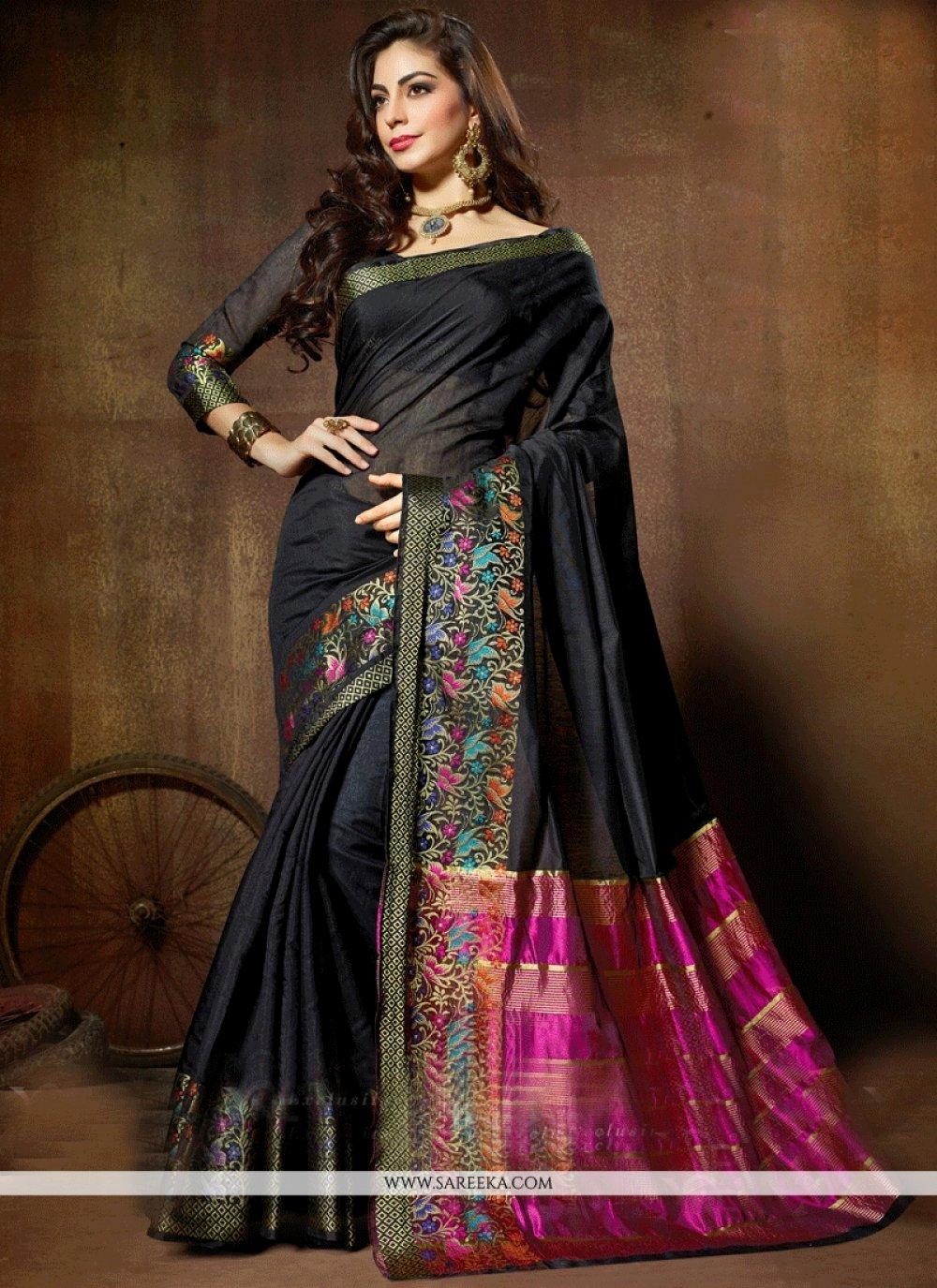 Weaving Work Black Cotton Silk Designer Traditional Saree