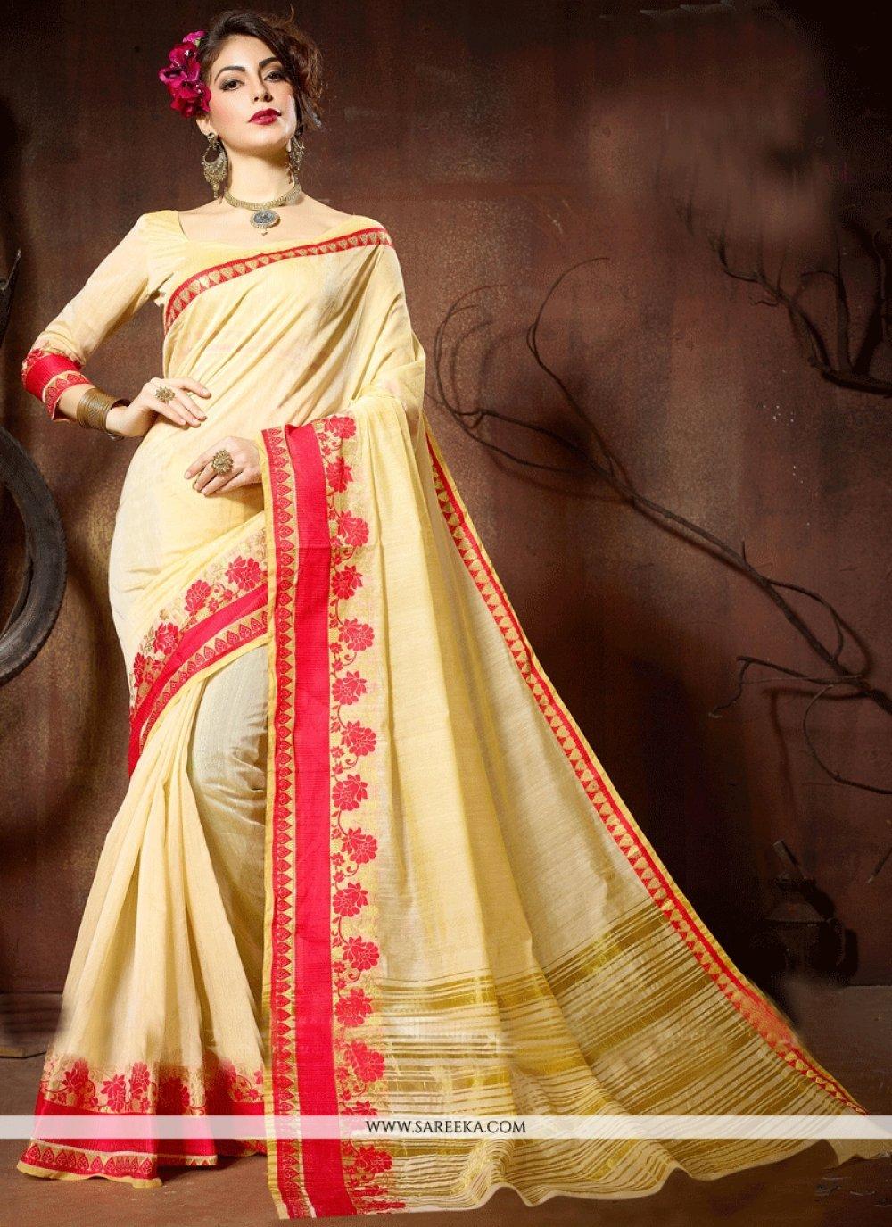 Weaving Work Cotton Silk Traditional  Saree