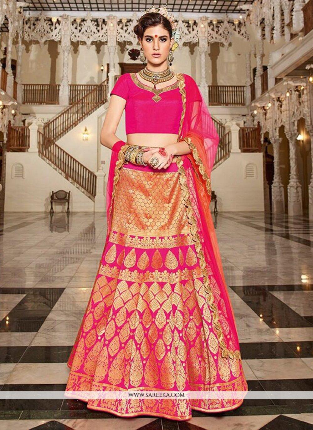Weaving Work Hot Pink Lehenga Choli