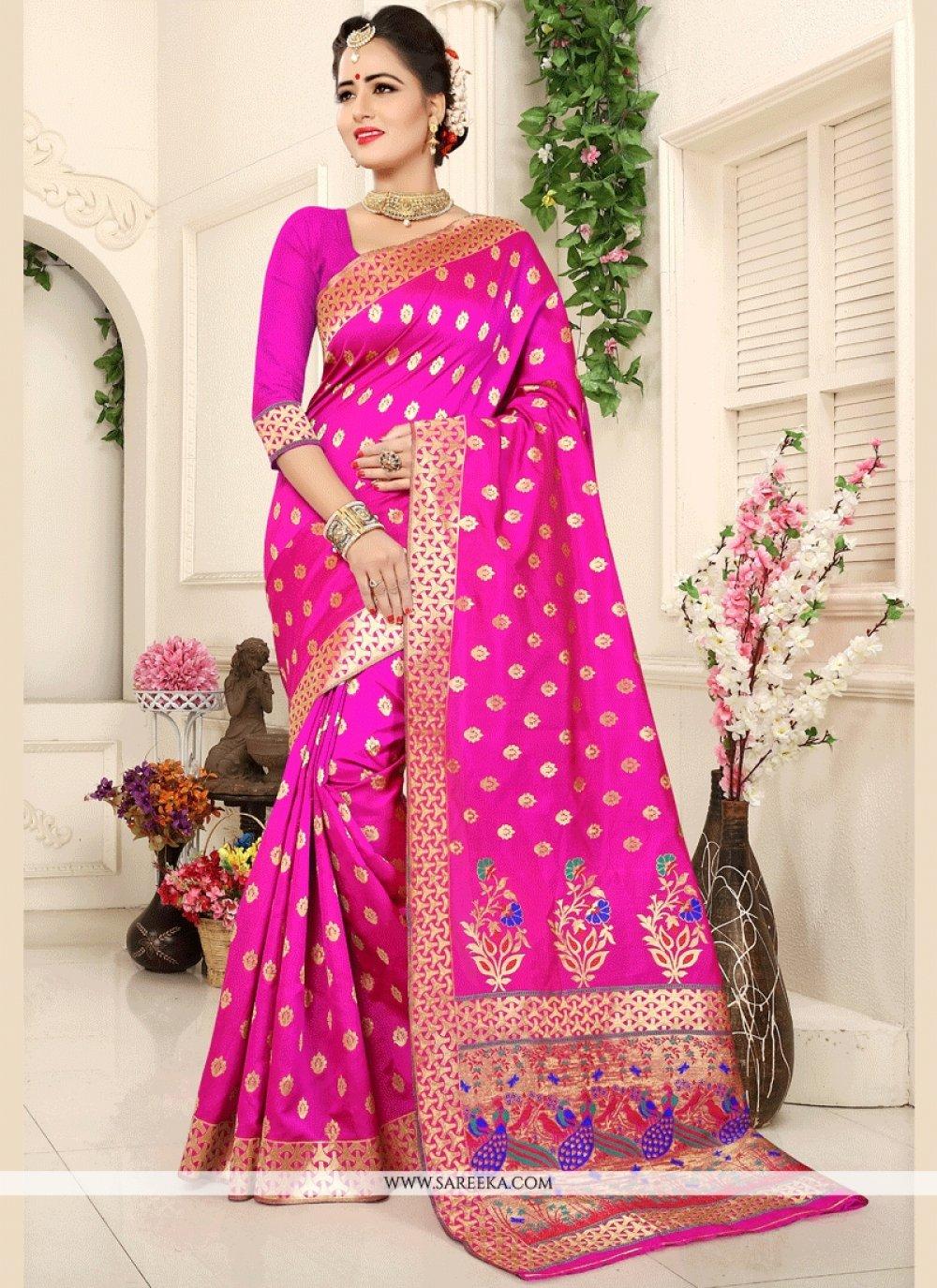 Weaving Work Hot Pink Traditional Designer Saree