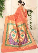 Weaving Work Orange Designer Traditional Saree