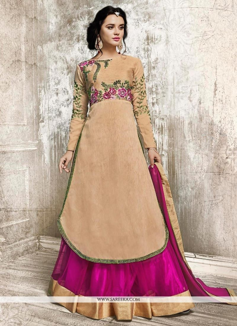 Faux Georgette Beige and Hot Pink Patch Border Work Long Choli Lehenga