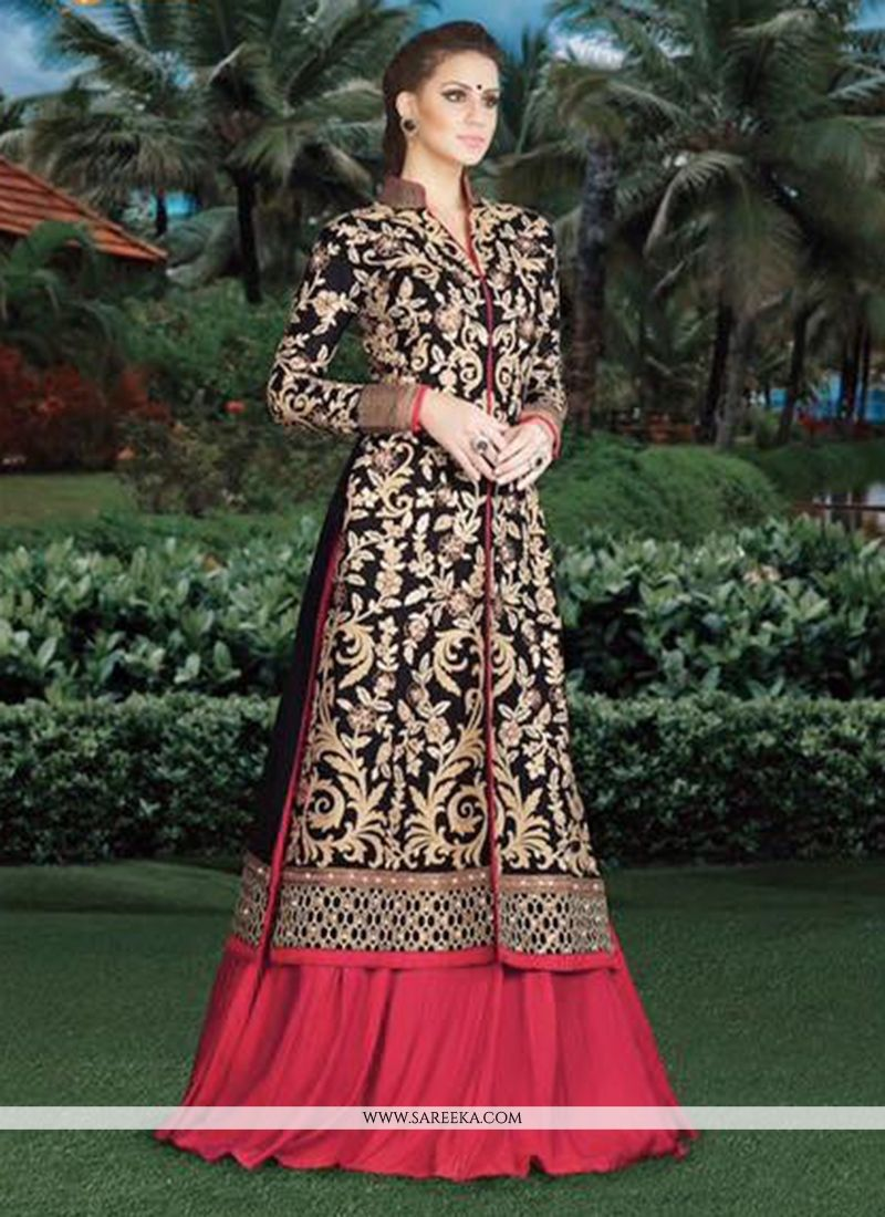 10b0915a6 Buy Navy Blue and Red Art Silk Lehenga Choli Online at best price -