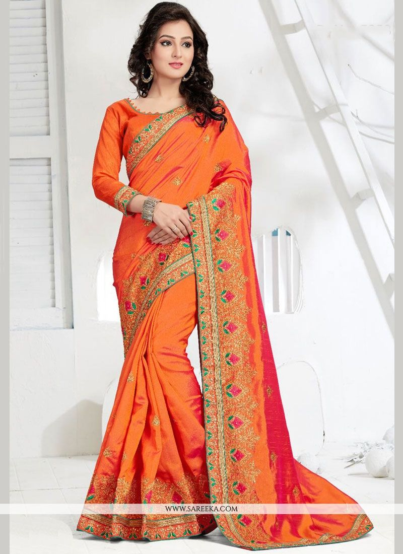 Orange Zari Work Traditional Designer Saree