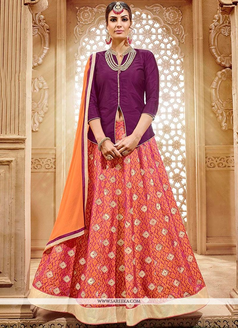 Patch Border Work Peach and Purple Long Choli Lehenga