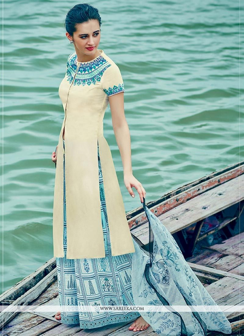 Buy White Cotton Satin Designer Palazzo Suit Online : Fiji -