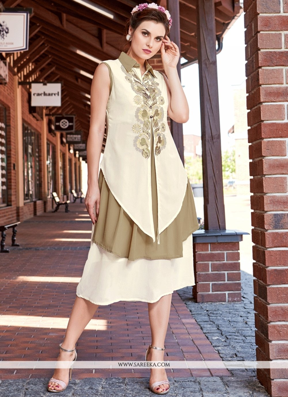 White Embroidered Work Party Wear Kurti