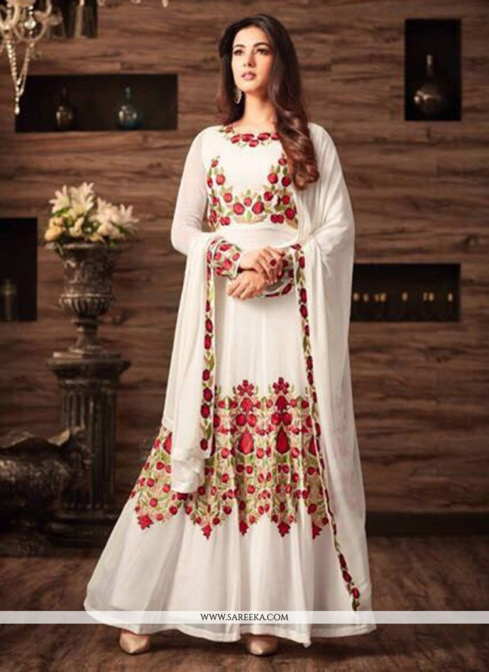 White Floor Length Anarkali Suit