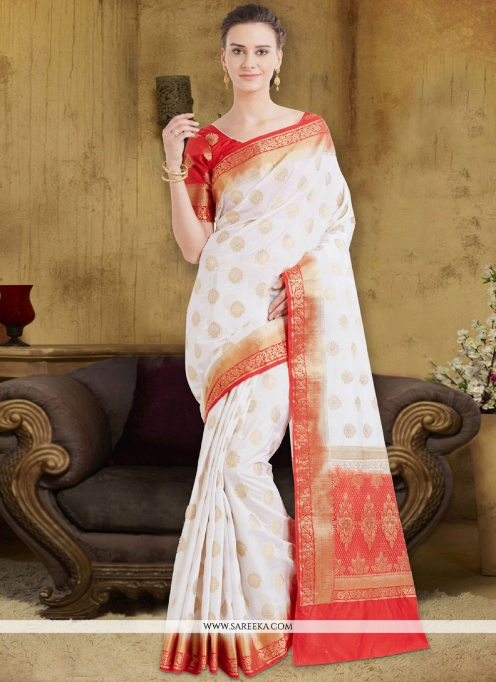 White Traditional  Saree