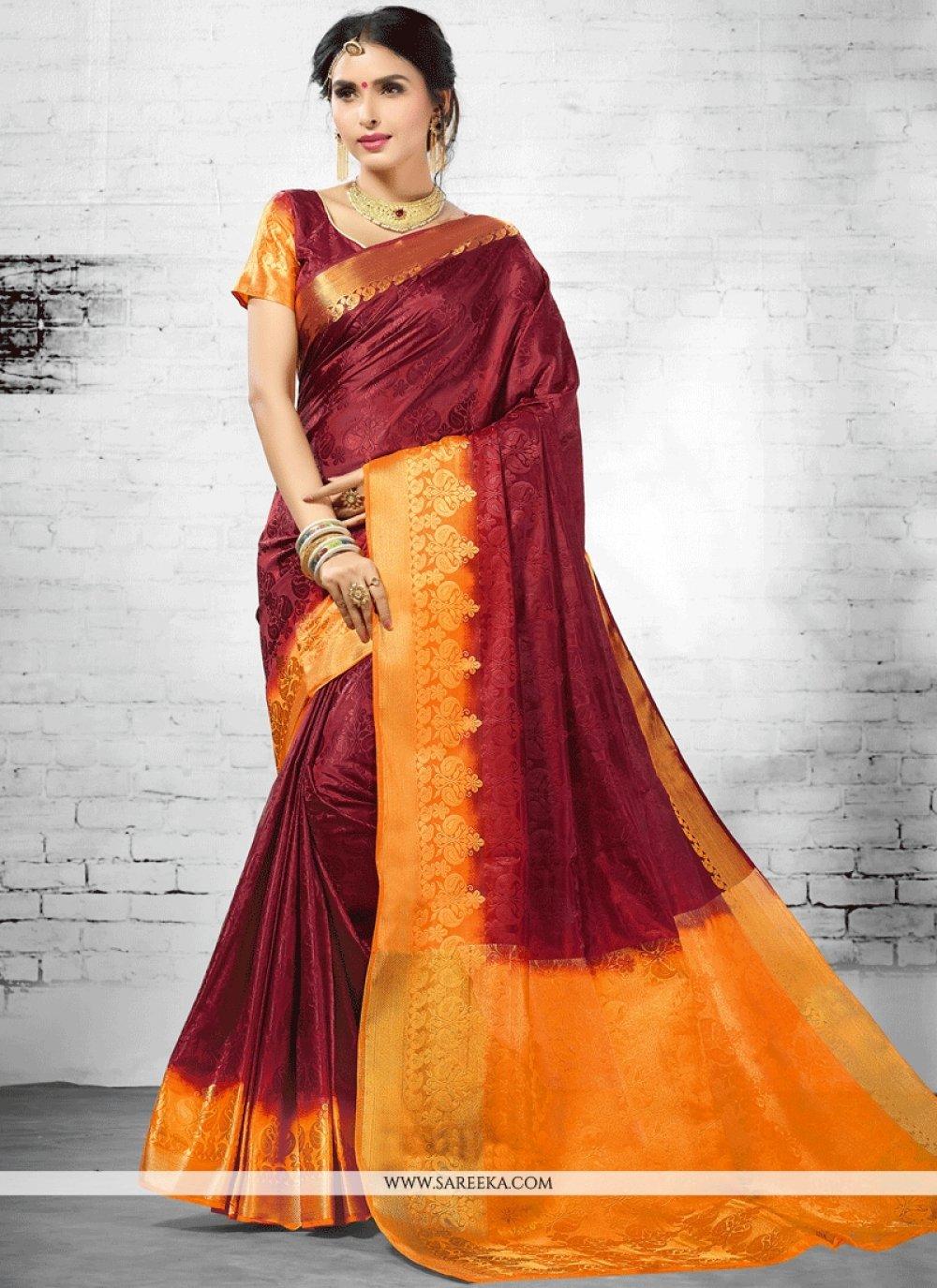 Wine woven Work Art Silk Designer Traditional Saree