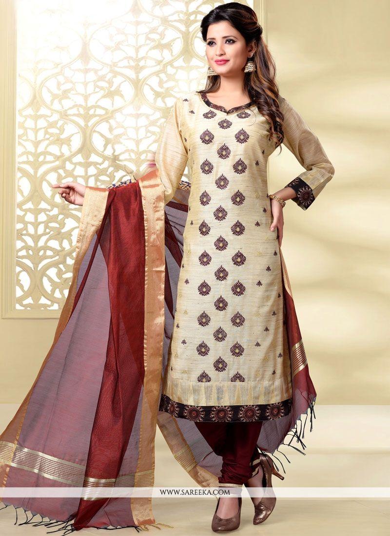 Beige and Maroon Resham Work Chanderi Churidar Designer Suit