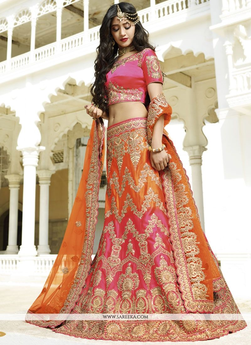 Satin Silk Orange and Hot Pink Embroidered Work Lehenga Choli