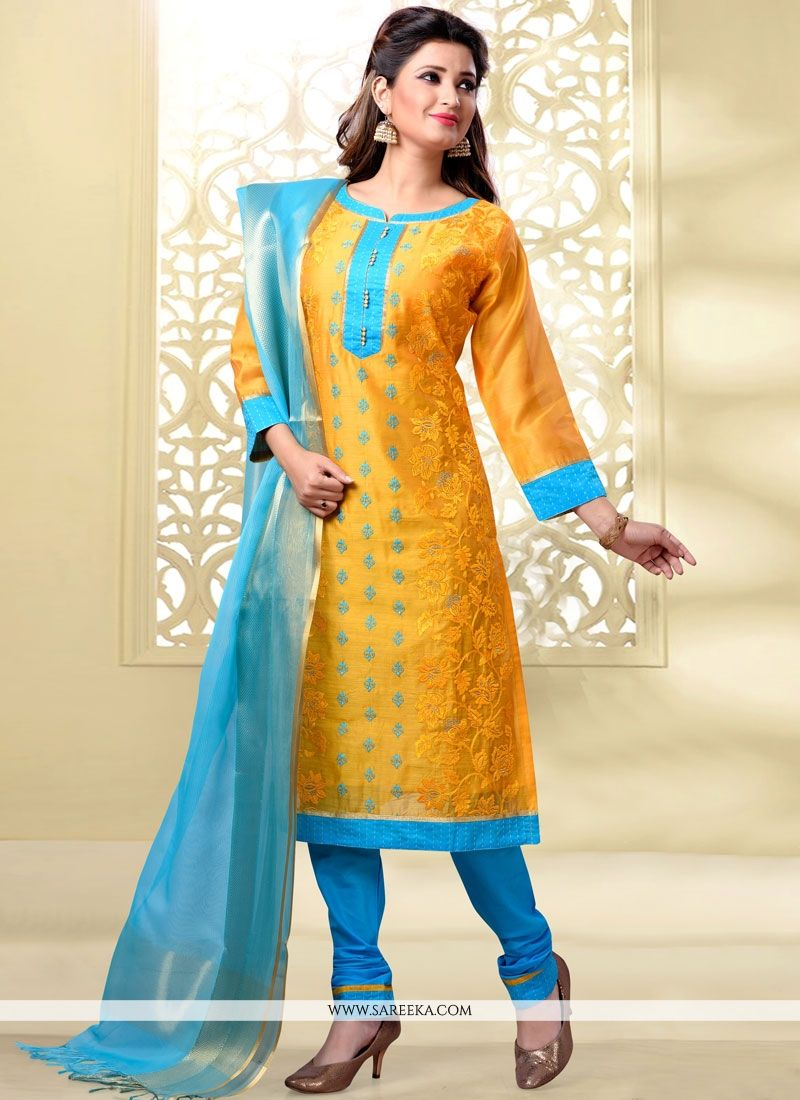 Chanderi Yellow Churidar Designer Suit