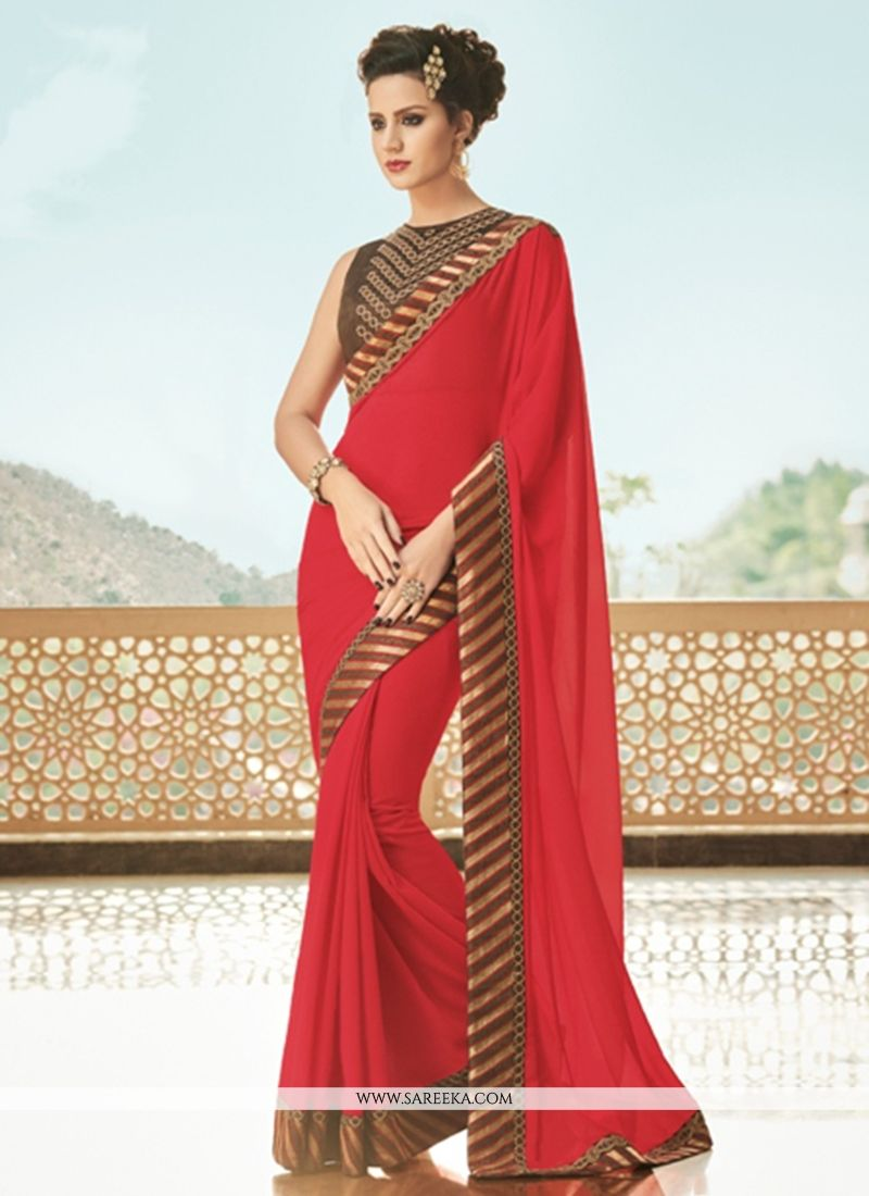 Faux Georgette Red Patch Border Work Saree