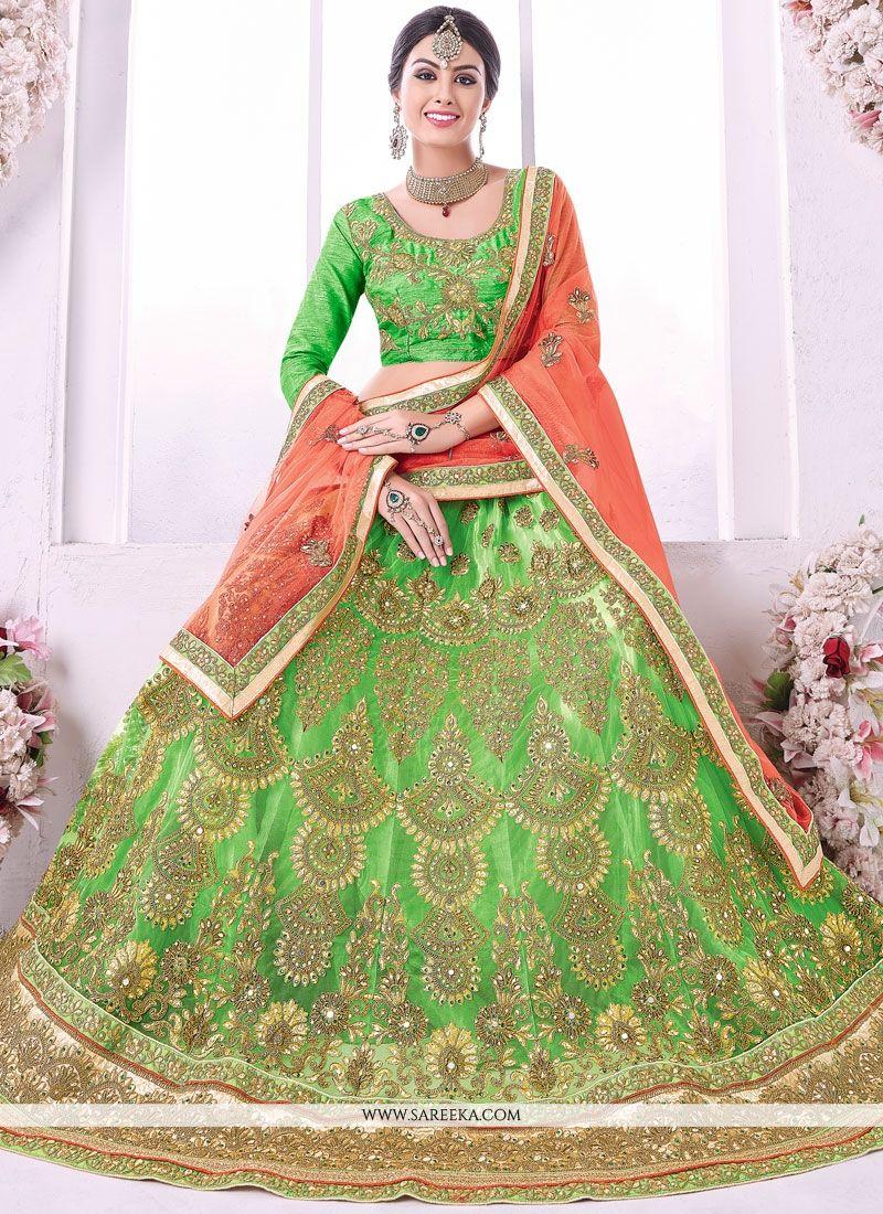 Net Green Lehenga Choli