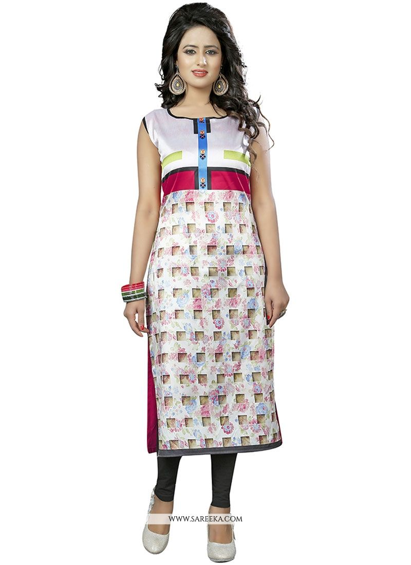 Print Work Faux Crepe Multi Colour Party Wear Kurti