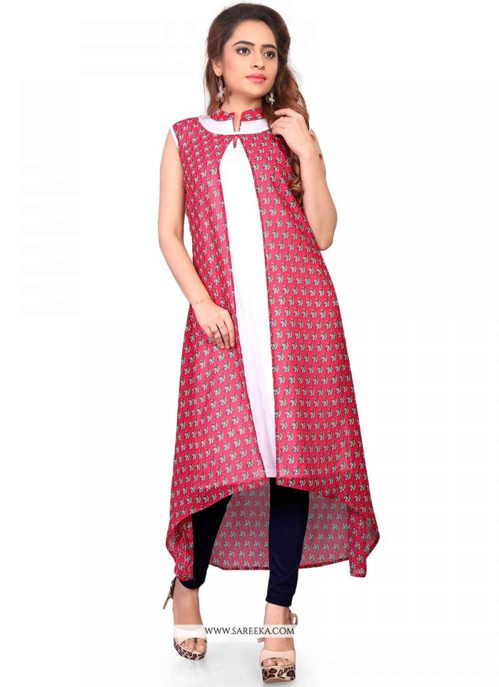 Print Work Pink and White Faux Crepe Party Wear Kurti