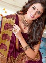 woven Work Wine Art Silk Traditional Designer Saree