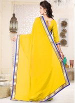 Yellow Faux Georgette Casual Saree