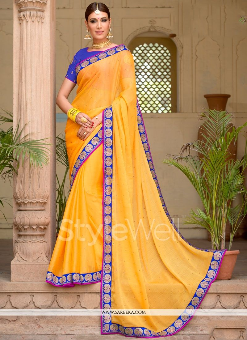 Yellow Stone Work Faux Chiffon Designer Saree