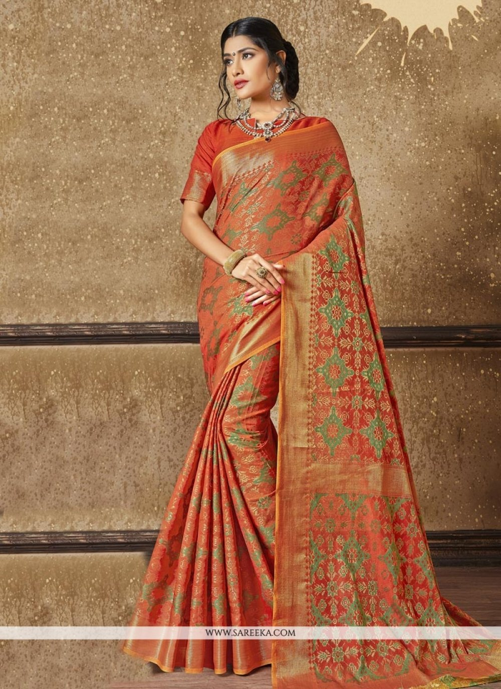 Zari Work Orange Traditional Designer Saree