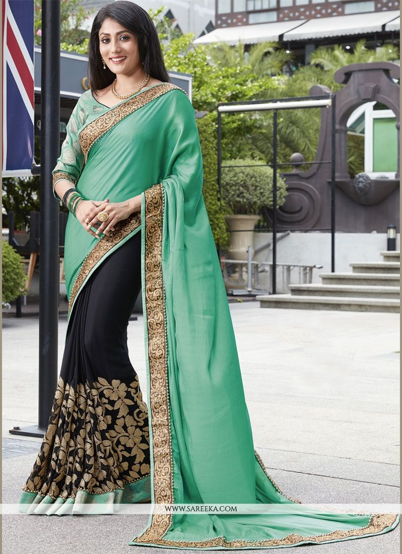 b0870c76f5 Buy Faux Crepe Black and Sea Green Embroidered Work Designer Half N Half  Saree Online at lowest price -