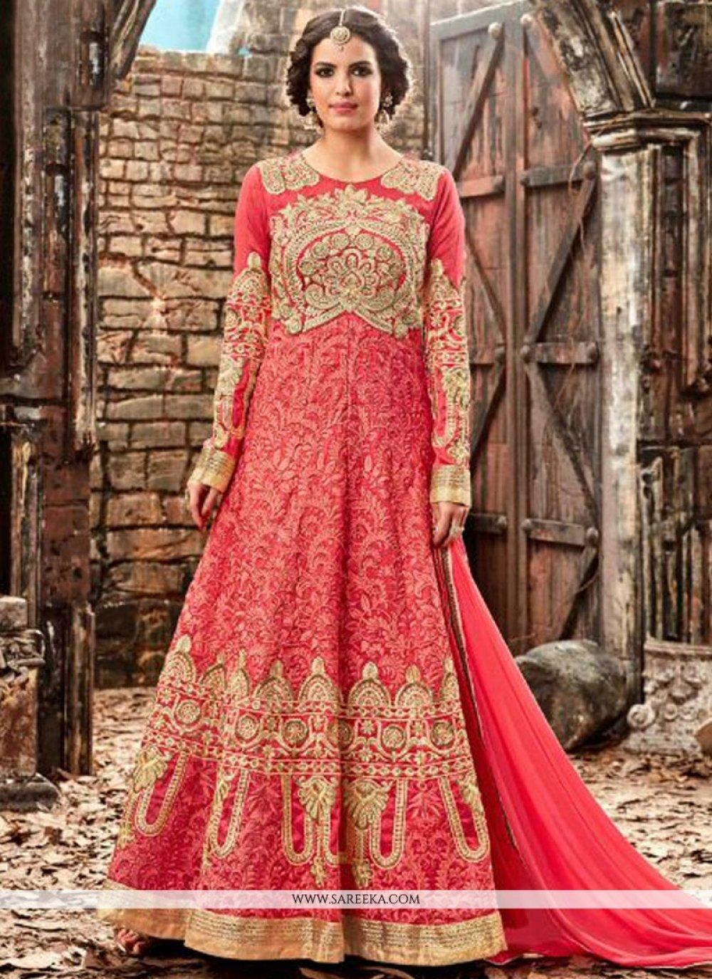 Patch Border Work Silk Designer Floor Length Salwar Suit
