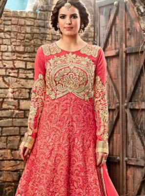 Patch Border Work Silk Designer Floor Length Salwar Suit