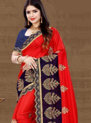 Aari Art Silk Red Traditional Saree