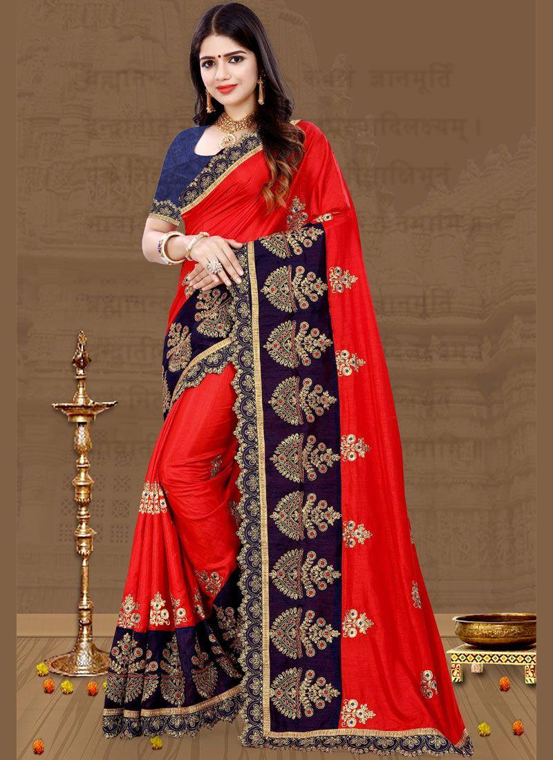 Aari Art Silk Red Traditional Saree