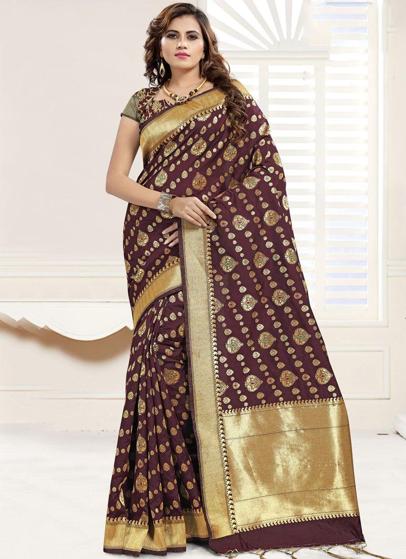 Abstract Print Banarasi Silk Brown Trendy Saree