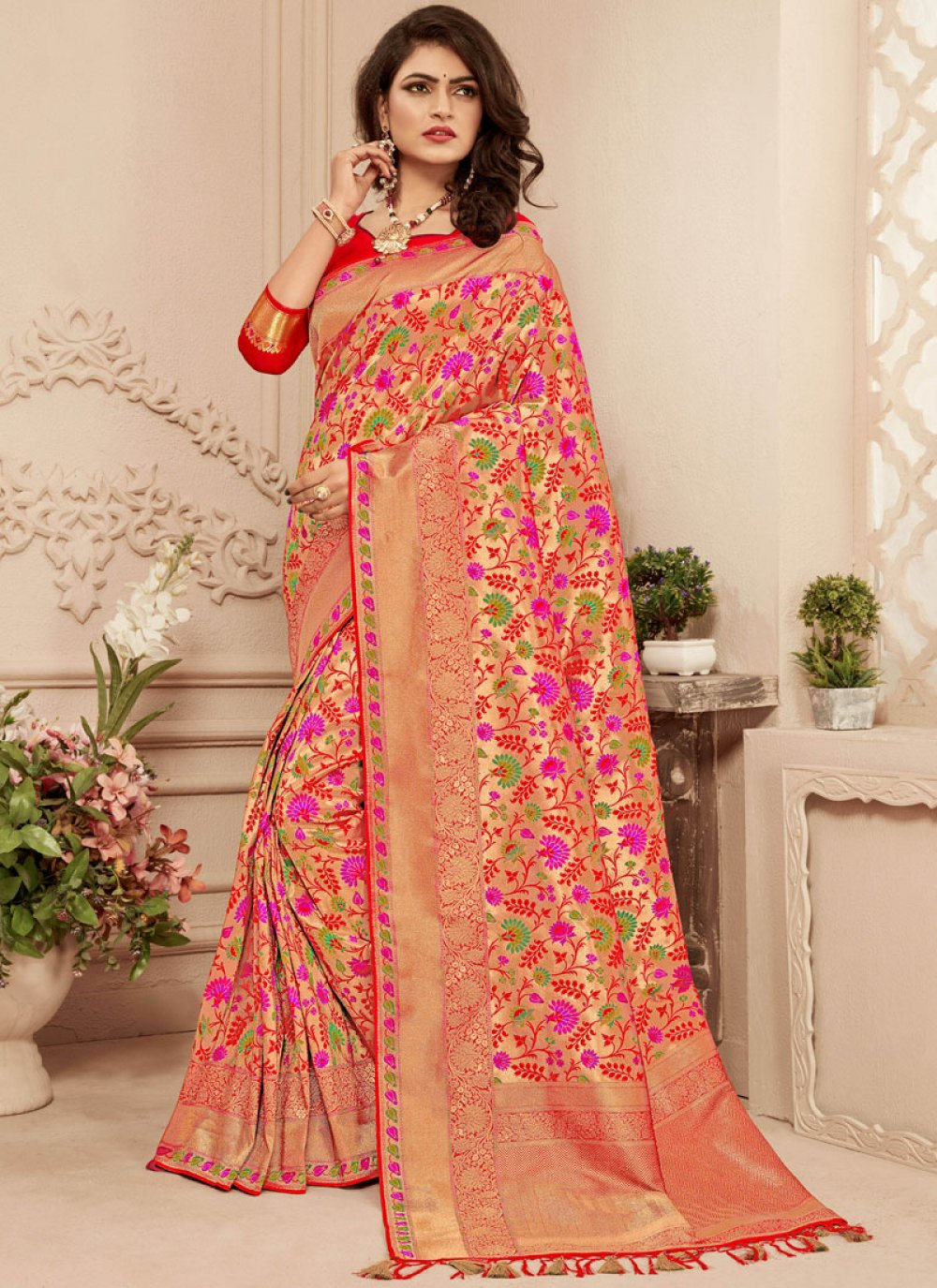 Abstract Print Banarasi Silk Classic Saree