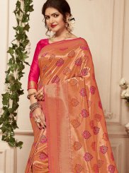 Abstract Print Banarasi Silk Pink Trendy Saree