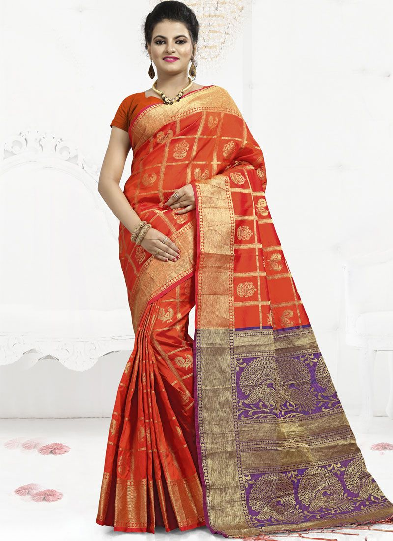 Abstract Print Banarasi Silk Trendy Saree in Orange