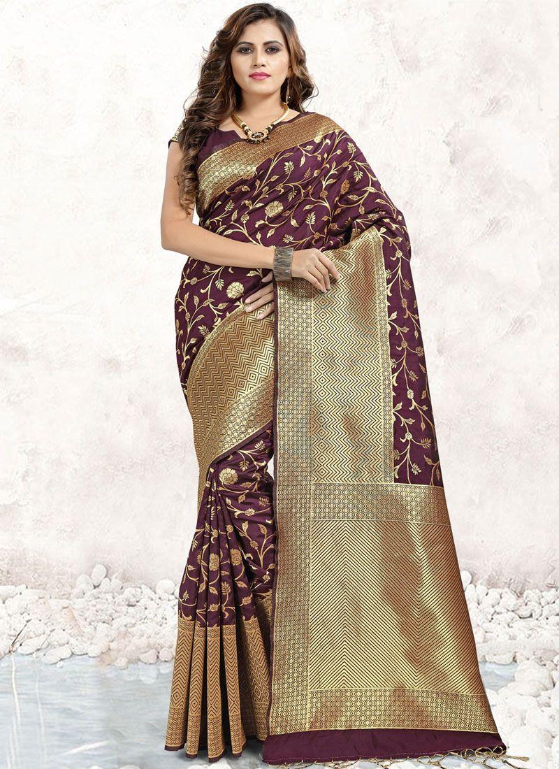 Abstract Print Brown Banarasi Silk Trendy Saree