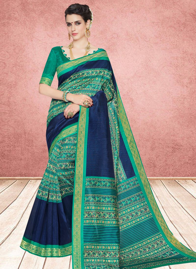 Abstract Print Cotton Silk Casual Saree