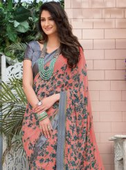 Abstract Print Faux Georgette Peach Printed Saree
