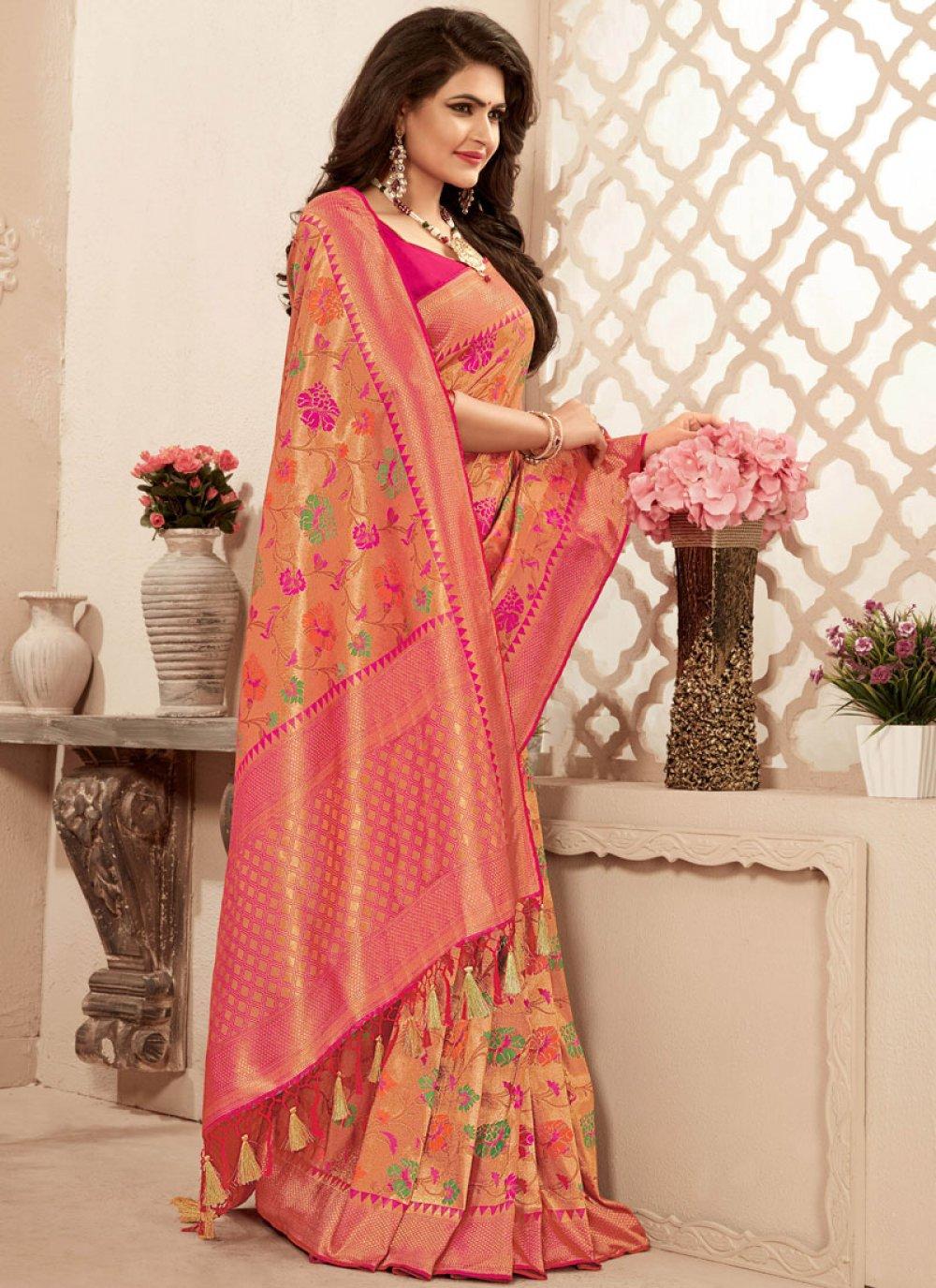 Abstract Print Pink Banarasi Silk Classic Saree