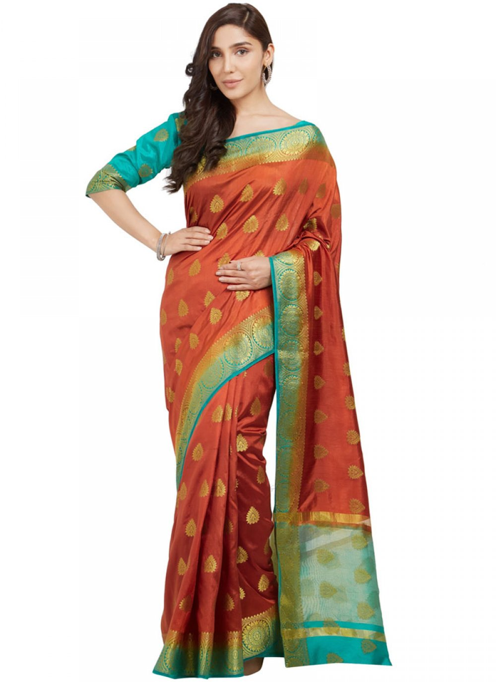 Abstract Print Silk Traditional  Saree in Orange