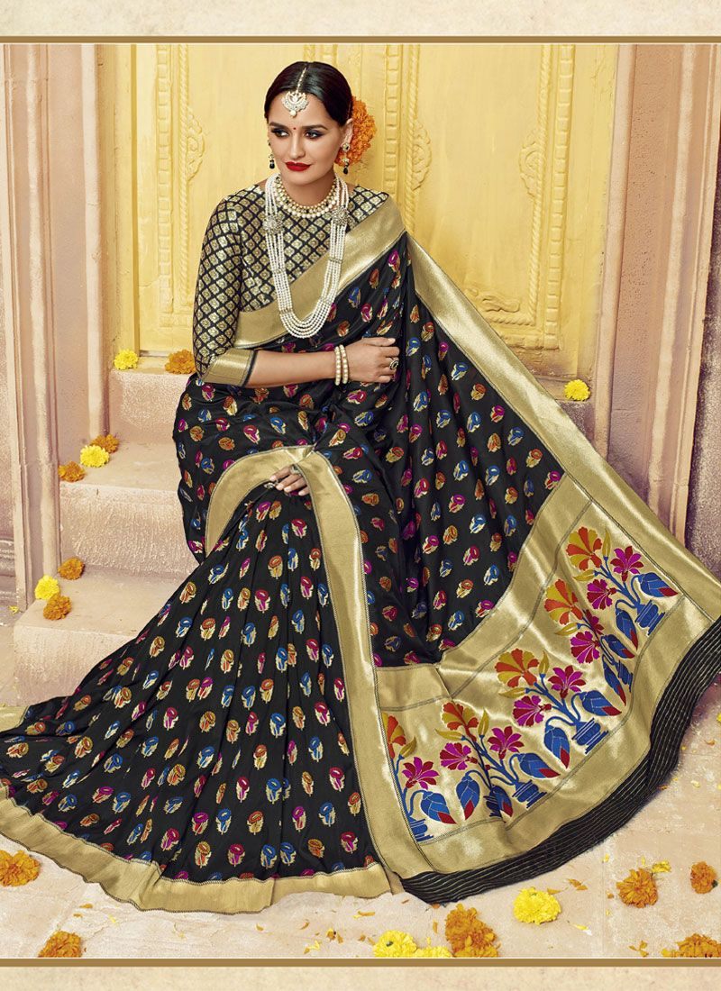 Abstract Print Work Banarasi Silk Designer Saree